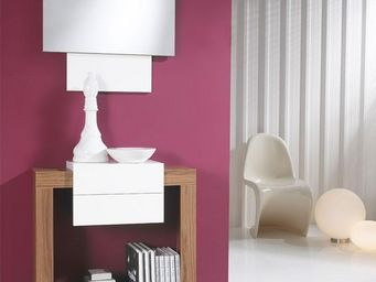 WHITE LABEL - meuble d\'entrée blanc/noyer + miroir - sevana - -