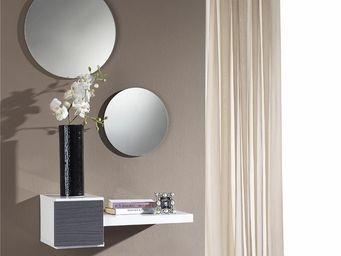 WHITE LABEL - meuble d\'entrée cendre + miroir - tiga - l 61 x -