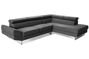 WHITE LABEL - canapé d'angle droite fixe venise cuir éco graphi - Adjustable Sofa