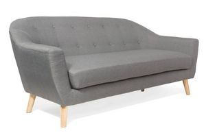 WHITE LABEL - canapé scandinave utmärkt 3 places gris silver - 3 Seater Sofa
