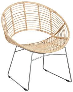 Aubry-Gaspard - fauteuil rond en métal et rotin naturel - Armchair