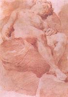 Virginie Pitchal - etude d'homme nu endormi - Sanguine Painting