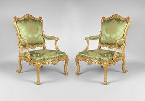F P FINE ART - pair of george ii giltwood armchairs - Flat Back Armchair