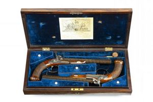 Peter Finer - a cased pair of english percussion rifled target p - Carbine And Rifle