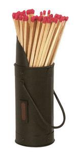 Aubry-Gaspard - seau noir en métal avec 60 allumettes et grattoir  - Match Box Holder