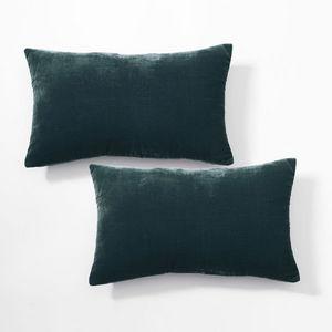Cosyforyou - paire de coussin en velours de soie, vert d'eau - Rectangular Cushion