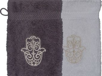 SIRETEX - SENSEI - gant eponge brodé main de fatma 550gr/m² coton - Bath Glove