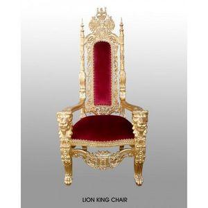 DECO PRIVE - fauteuil trone pere noel tissu velours rouge et bo - Throne Armchair