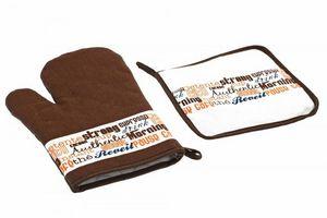 WHITE LABEL - gant à four avec manique de protection coffee bar - Oven Glove