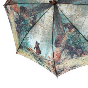 WHITE LABEL - parapluie droit mixte manche canne en bois motif a - Umbrella