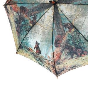 WHITE LABEL - parapluie droit mixte manche canne en bois motif a - Umbrella