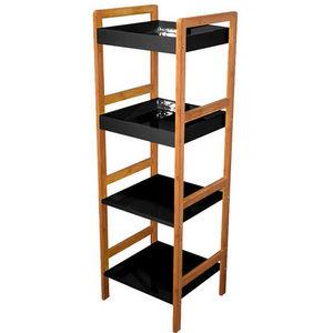 WHITE LABEL - etagère 4 niveaux en bambou et bois laqué à monter - Bathroom Shelf