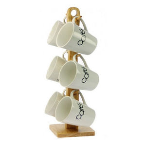 WHITE LABEL - ensemble de 6 mugs en grès avec support de rangeme - Cup Holder