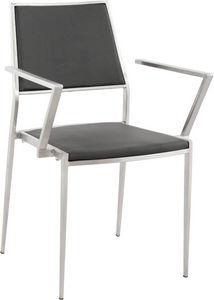 KOKOON DESIGN - fauteuil zigzag en inox et simili-cuir noir 42.5x4 - Reception Armchair