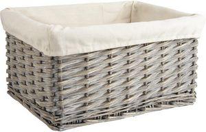 Aubry-Gaspard - corbeille de rangement en osier gris avec doublure - Storage Basket