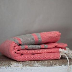 Zandaraa - fouta plate corail et taupe - Fouta Hammam Towel