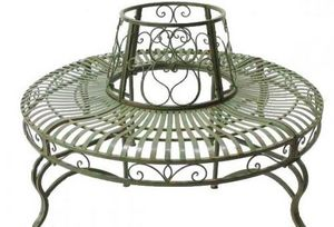 Demeure et Jardin - tour d'arbre rond vert de gris en fer forgé - Circular Tree Bench