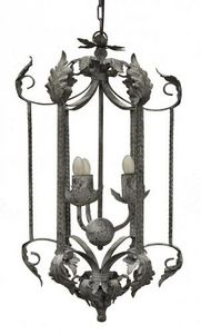 Demeure et Jardin - lanterne fer forgé feuille d'acanthes taupe - Outdoor Hanging Lamp