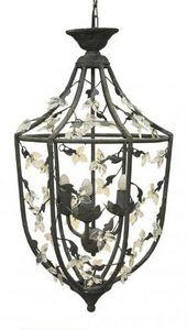 Demeure et Jardin - lanterne fer forgé feuillagée gris foncé - Outdoor Hanging Lamp