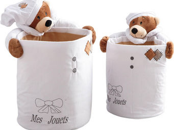 Aubry-Gaspard - 2 corbeilles rondes en coton mes jouets ourson - Storage Unit For Kids