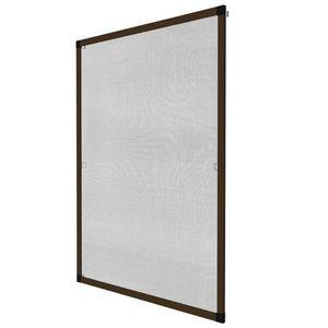 WHITE LABEL - moustiquaire pour fenêtre cadre fixe en aluminium 100x120 cm brun - Window Fitted Mosquito Screen