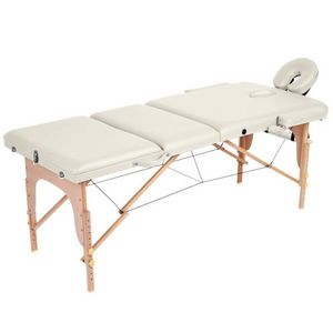 WHITE LABEL - table de massage pliante 3 zones crème - Massage Table