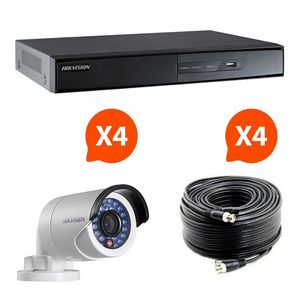 CFP SECURITE - kit videosurveillance turbo hd hikvision 4 caméra - Security Camera