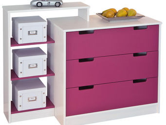 WHITE LABEL - commode enfant 3 tiroirs coloris blanc et rose ma - Children's Drawer Chest