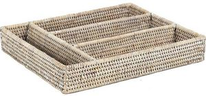 Aubry-Gaspard - range-couverts en rotin blanc - Cutlery Tray