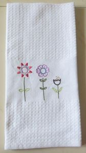 ITI  - Indian Textile Innovation - waffle with embroidery - Tea Towel