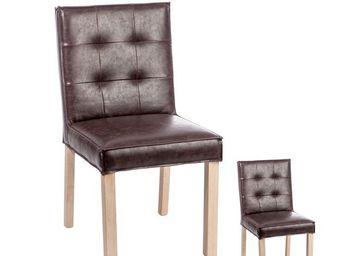 WHITE LABEL - duo de chaises capitonnées marron - scotty - l 45 - Chair