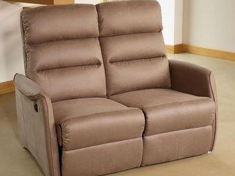 WHITE LABEL - canapé relax électrique 2 places marron cendré - s - 2 Seater Sofa