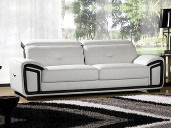 WHITE LABEL - canapé cuir 3 places hamilton - 3 Seater Sofa