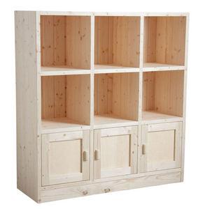 Aubry-Gaspard - bibliothèque 6 cases 3 portes en épicéa brut - Open Bookcase