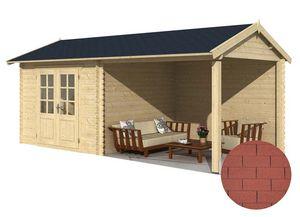 jardindeco - abri de jardin en bois saumur bardeau droit rouge - Wood Garden Shed