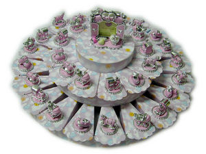 BOMBONIERA SHOP - torta nuvoletta rosa - Christening/confirmation Sweet Favour