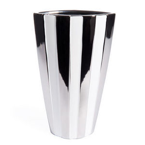 MAISONS DU MONDE - vase rayé blanc argent - Flower Vase