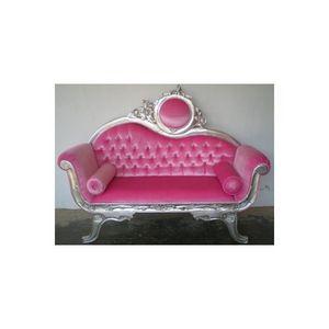 DECO PRIVE - canape baroque argente et velours rose et capitonn - 2 Seater Sofa