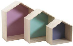 Aubry-Gaspard - etagère niche maison (lot de 3) - Multi Level Wall Shelf