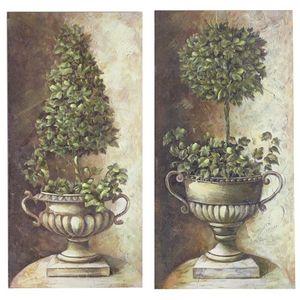 CHEMIN DE CAMPAGNE - 2 tableaux cadres en bois peint buis vasque médici - Decorative Painting