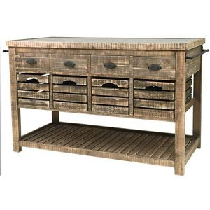CHEMIN DE CAMPAGNE - meuble billot ilôt central bahut buffet console ta - Kitchen Island