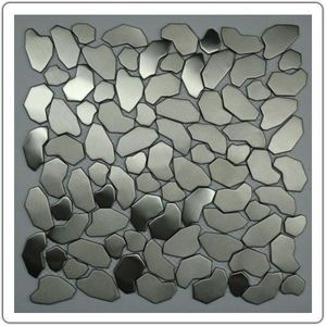 TOOSHOPPING - crédence carrelage inox mosaique inox galet - Mosaic Tile Wall