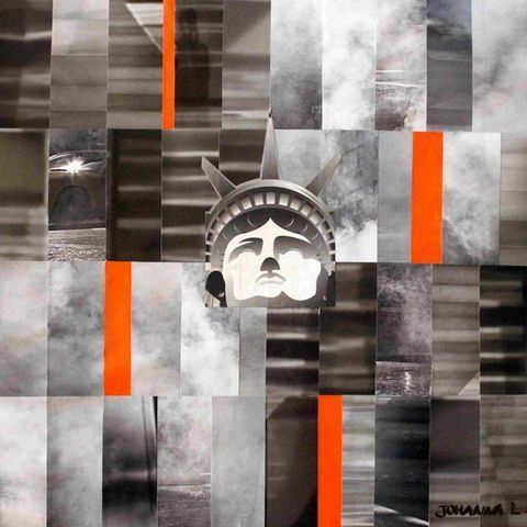 JOHANNA L COLLAGES - Contemporary painting-JOHANNA L COLLAGES-City 4 : NYC 60x60 cm