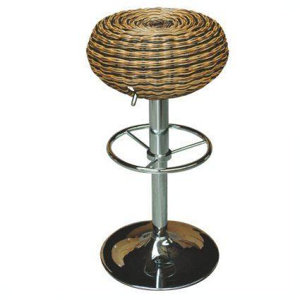 4-Pieds - Bar stool-4-Pieds-Tabouret en rotin naturel