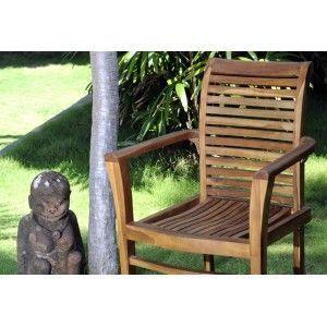 wood-en-stock - fauteuil empilable en teck huilé : raja - Gartensessel