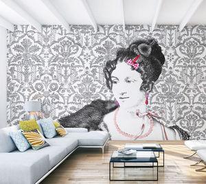 IN CREATION - mademoiselle classic noir sur blanc - Panoramatapete
