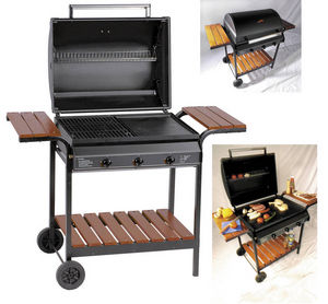 WILSA GARDEN - barbecue à gaz 3 feux grill et plancha 101x63x70cm - Gasgrill