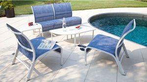 PROLOISIRS - salon linéa lounge 4 fauteuils 3 tables blanc sand - Gartengarnitur