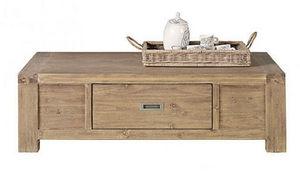 INWOOD - table basse 1 tiroir nevada en acacia 135x80x40cm - Rechteckiger Couchtisch
