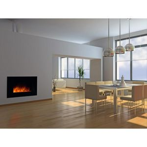 CHEMIN'ARTE - cheminée design volcano black en acier et verre tr - Elektrischer Kamin